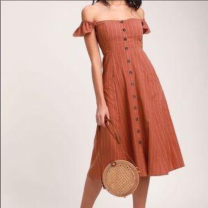 Lulu's Rusty Rose off the shoulder midi dress - S